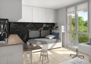 schönes Wohnzimmer in der Studentenwohnung